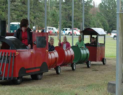 Kids Riding On Train At Arkansas Frontier